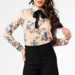 Fiyonklu Çiçek Desenli Bluz Modelleri