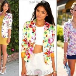 Gösterişli Çiçek Desenli Ceket Modelleri