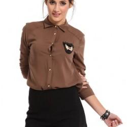 Kahverengi Deri Detaylı Bluz Modelleri