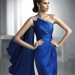 Omzu Taş Süslemeli Gece Mavisi Elbise Modelleri