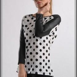 Puantiyeli Deri Detaylı Bluz Modelleri