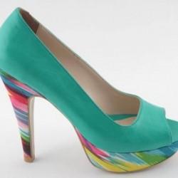 Renkli Topuklu Su Yeşili Ayakkabı Modelleri