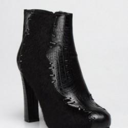 Siyah Bot İnci Deri Ayakkabı Modelleri