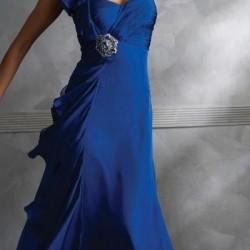 Tek Omuzlu Gece Mavisi Elbise Modelleri