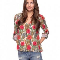 V Yaka Çiçek Desenli Bluz Modelleri