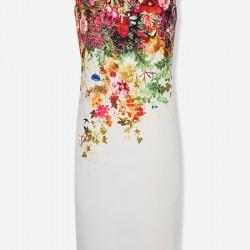 Çiçek Desenli Kolsuz Vakko Elbise Modelleri