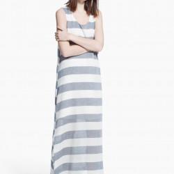 Çizgili Uzun Yeni Sezon Mango Elbise Modelleri