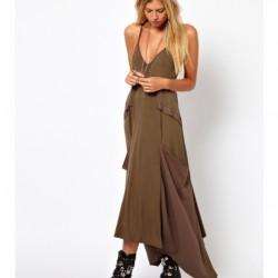 Askılı Toprak Rengi Elbise Modelleri