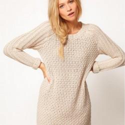 Bej Yeni Sezon Örgü Elbise Modelleri