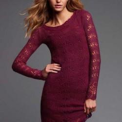 Bordo Yeni Sezon Örgü Elbise Modelleri