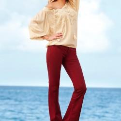 Bordo Yeni Sezon İspanyol Paça Pantolon Modelleri