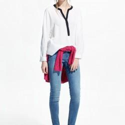 Dökümlü Beyaz Yeni Sezon Mango Bluz Modelleri