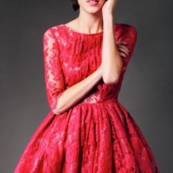 Dantelli Kırmızı Yeni Sezon Kloş Elbise Modelleri