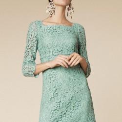 Dantelli Uzun Kollu Mint Yeşili Elbise Modelleri