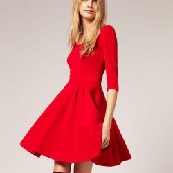 Kırmızı Yeni Sezon Kloş Elbise Modelleri