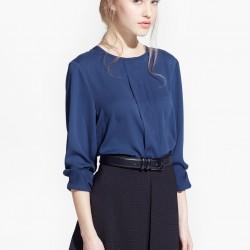 Koyu Mavi Yeni Sezon Mango Bluz Modelleri