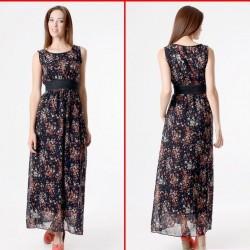 Koyu Renk Kolsuz Çiçek Desenli Elbise Modelleri