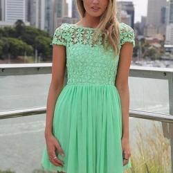 Mini Mint Yeşili Elbise Modelleri
