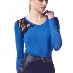 Omuz Kısmı Dantelli Saks Mavisi Bluz N-Value Yeni Sezon Modelleri