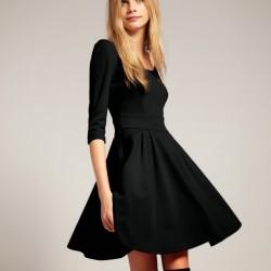 Sade Siyah Yeni Sezon Kloş Abiye Modelleri