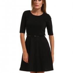 Sade Siyah Yeni Sezon Kloş Elbise Modelleri