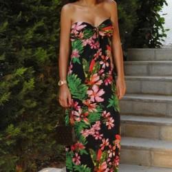 Straplez Çiçek Desenli Elbise Modelleri