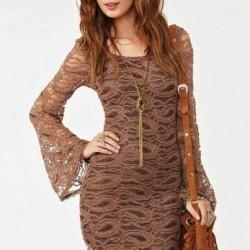 Toprak Rengi Yeni Sezon Kolları Volanlı Elbise Modelleri