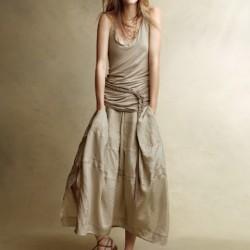 Uzun Yeni Sezon Keten Elbise Modelleri
