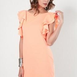 Zarif Yeni Sezon Kolları Volanlı Elbise Modelleri