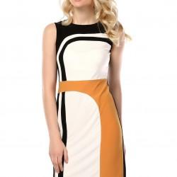 Üç Renk Desenli Elbise 2015 Yazlık Ofis Kıyafetleri