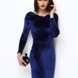 Saks Mavisi Kadife 2015 Kısa Elbise Modelleri