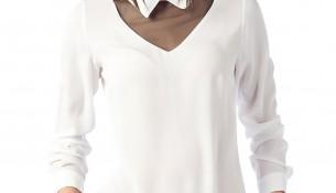 Yaka Detaylı Ekru Olgun Orkun Yeni Sezon Bluz Modelleri