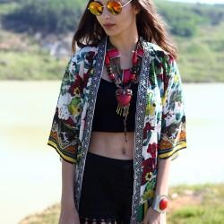 Boncuk İşlemeli Kimono Bohem Tarz Sokak Modası Modelleri
