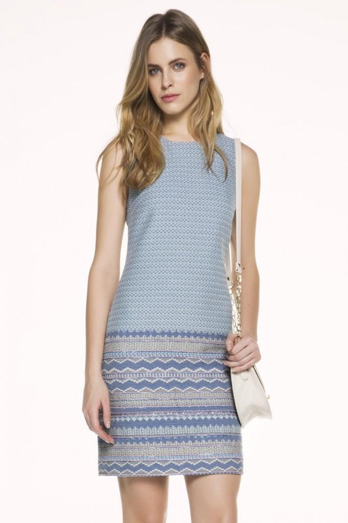 Desenli Açık Mavi İpekyol 2015 Elbise Modelleri