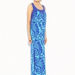 Desenli Turkuaz Rengi Park Bravo 2015 Elbise Modelleri