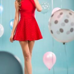 Kolsuz Kırmızı Parti Elbisesi Modelleri