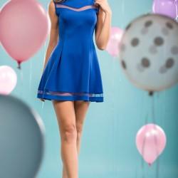 Kolsuz Saks Mavisi Parti Elbisesi Modelleri