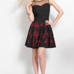 Lazer Kesimli Siyah Parti Elbisesi Modelleri