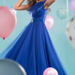 Payetli Saks Mavisi Uzun Parti Elbisesi Modelleri