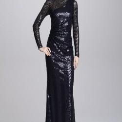 Payetli Siyah Uzun Kollu Abiye Modelleri