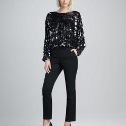 Siyah Payetli Bluz Modelleri