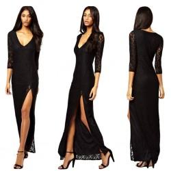 Uzun Dantelli Siyah V Yaka Elbise Modelleri
