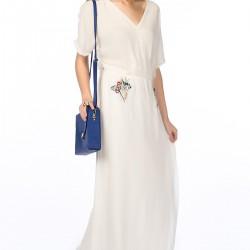 Uzun Ekru Zara Elbise Modelleri