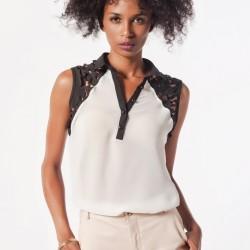 V Yaka Beyaz Lazer Kesim Bluz Modelleri