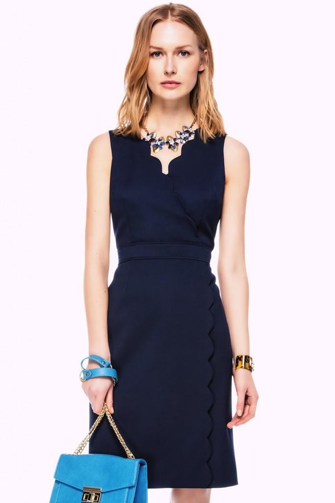 Yaka Detaylı Lacivert İpekyol 2015 Elbise Modelleri