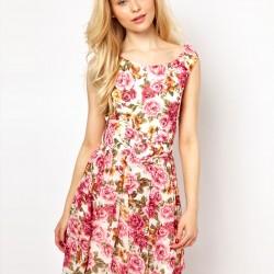 Çiçek Desenli Trend Elbise Modelleri 2015