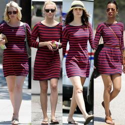 Kırmızı 2015 Çizgili Elbise Modelleri
