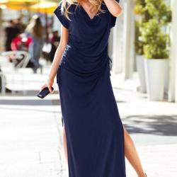 Yırtmaç Detaylı Lacivert Trend Elbise Modelleri 2015