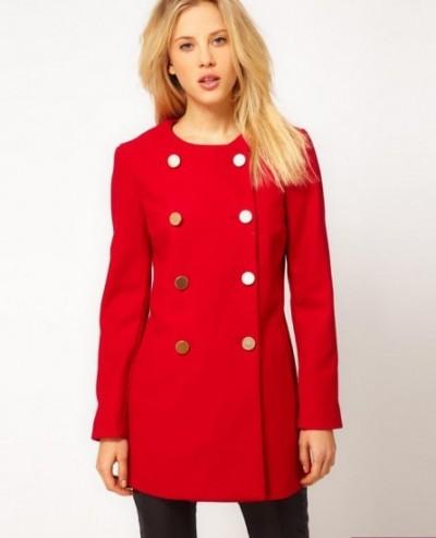 Kırmızı Renkli Bayan Kaşe Kaban Modelleri