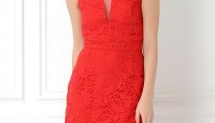 adL Kırmızı Renk Pileli Elbise Modeli